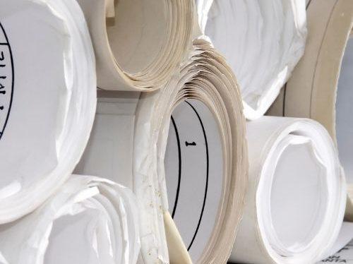 Konstruktionsritningar i pappersrullar
