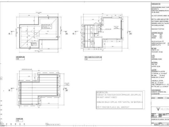 Villcon Referensprojekt - Nybyggnad - Konstruktionsritningar - Nybyggnad av bostadshus, sedumtak och isoblock